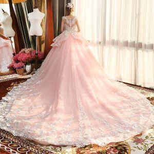 Luxe Rougissant Rose Transparentes Robe De Mariée 2019 Robe Boule Encolure Carrée Sans Manches Appliques En Dentelle Fleur Perlage Cathedral Train Volants