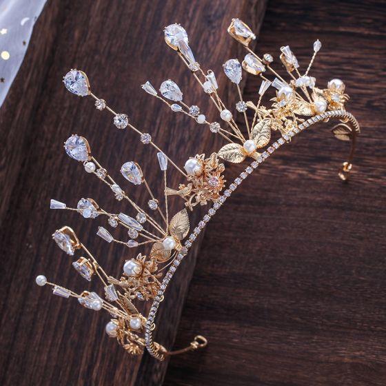 Chic / Beautiful Gold Tiara Bridal Hair Accessories 2020 Metal Zircon Beading Rhinestone Pearl Wedding Accessories