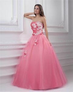 Ball Gown Strapless Applique Beading Pleated Floor Length Satin Quinceanera Prom Dress