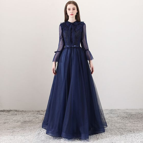 Modern / Fashion Navy Blue Evening Dresses  2018 A-Line / Princess Square Neckline Long Sleeve Bow Sash Floor-Length / Long Ruffle Backless Formal Dresses