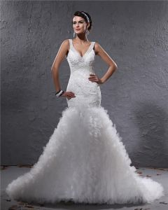 Elegant Yarn Charmeuse Applique Beaded V Neck Floor Length Mermaid Wedding Dress