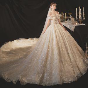 Eleganckie Szampan ślubna Suknie Ślubne 2020 Suknia Balowa Przy Ramieniu Kótkie Rękawy Bez Pleców Aplikacje Z Koronki Cekiny Frezowanie Trenem Katedra Wzburzyć
