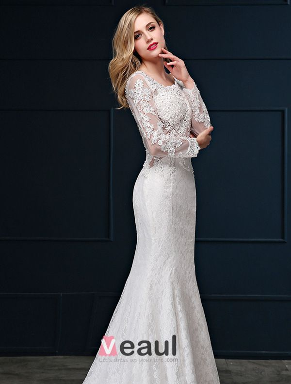 Mermaid Square Neckline Long Sleeves Pierced Lace Wedding Dress