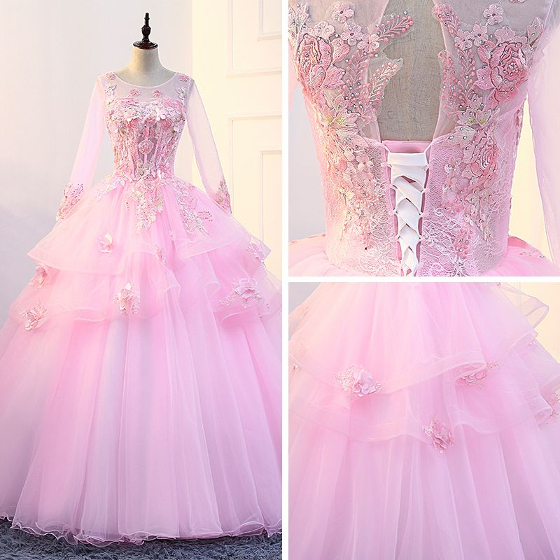 Flower Fairy Candy Pink Prom Dresses 2018 U-Neck Tulle Ball Gown Appliques Backless Beading Prom Formal Dresses