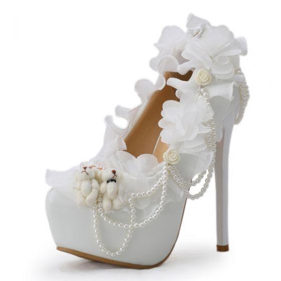 Amazing / Unique White 14 cm Wedding High Heels Appliques Beading Pearl Round Toe Pumps Wedding Shoes 2018