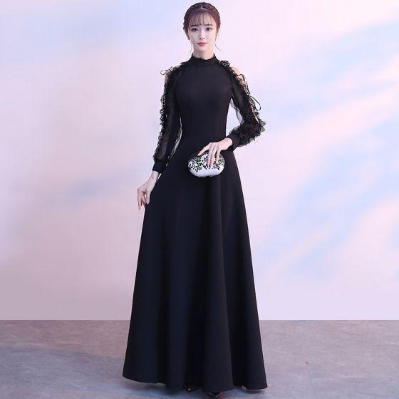 Modern Fashion Black Floor Length Long Evening Dresses 2018 A