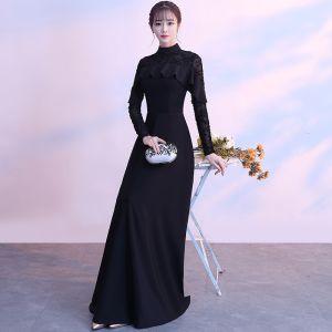 Simple Noire Longue Robe De Soirée 2018 Princesse Lacer Col Haut Manches Longues Charmeuse Robe De Ceremonie