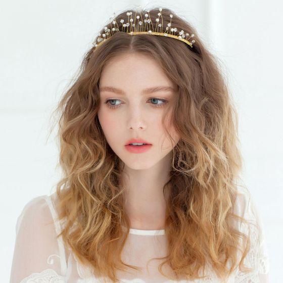 Handmade Golden Crown Tiara Wedding Hair Accessories Wedding Dress Frontlet