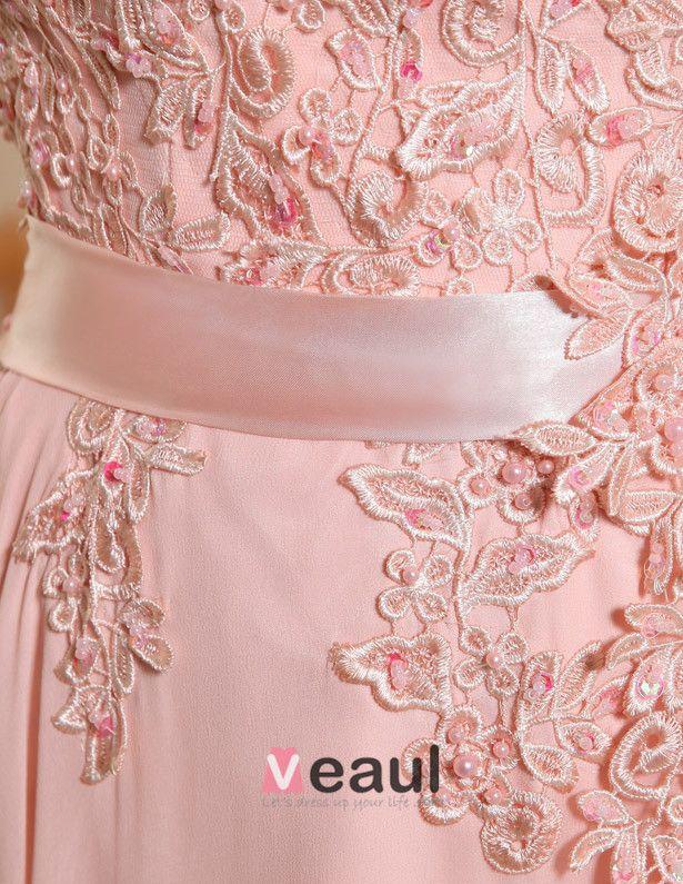 Robe De Ceremonie Rose A Ligne Dentelle Robe De Soirée Longue