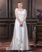 Charmeuse Sicke Applique Quadratischen Ausschnitt Sweep Brautkleider Große Größen Brautkleider