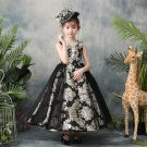 Chic / Beautiful Black Flower Girl Dresses 2019 A-Line / Princess Scoop Neck Sleeveless Embroidered Flower Ankle Length Ruffle Wedding Party Dresses