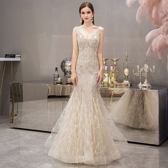High-end Gold Evening Dresses  2019 Trumpet / Mermaid Deep V-Neck Sleeveless Beading Pearl Rhinestone Feather Floor-Length / Long Ruffle Backless Formal Dresses