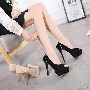 Modest / Simple Black Prom Womens Shoes 2018 Rivet Suede Platform 13 cm Stiletto Heels Open / Peep Toe Pumps