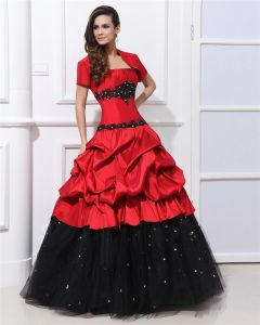 Ball Gown Charmeuse Ruffle Beading Applique Strapless Floor Length Quinceanera Prom Dresses