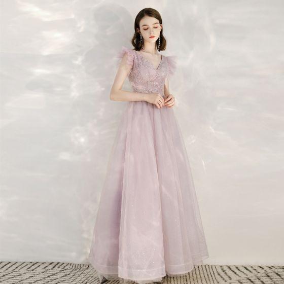Elegant Rosa Selskabskjoler 2020 Prinsesse V-Hals Ærmeløs Applikationsbroderi Pailletter Glitter Tulle Lange Flæse Halterneck Kjoler