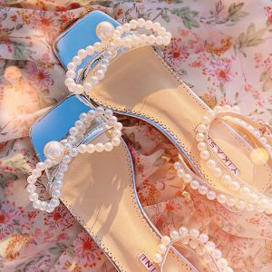 Sexig Sommar Silver Dansande Sandaler Dam 2020 Läder Pärla Ankelband 5 cm Tjocka Klackar Peep Toe Sandaler
