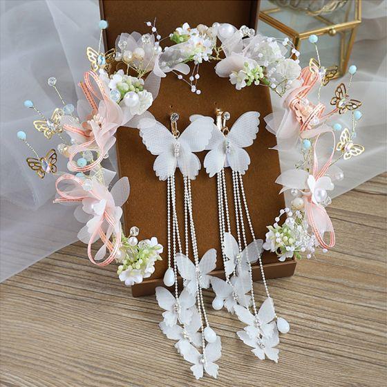 Flower Fairy Ivory Hair Hoop Bridal Hair Accessories 2020 Alloy Silk Flower Tassel Earrings Beading Headpieces Bridal Jewelry
