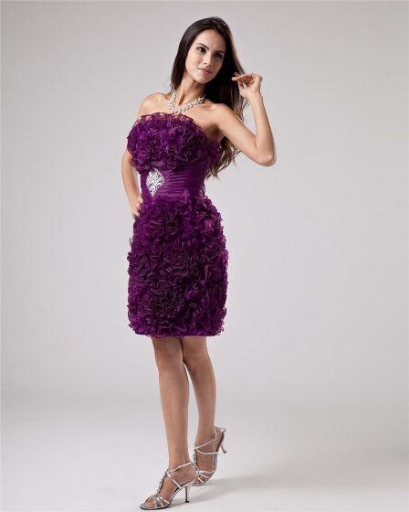 Linke Długosc Kwiat Organzy Kolano Tanie Sukienki Koktajlowe