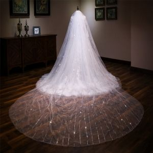 Luxury / Gorgeous White Cathedral Train Wedding Tulle Beading Sequins Wedding Veils 2018