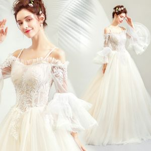 Affordable Champagne Wedding Dresses 2019 A-Line / Princess Off-The-Shoulder Spaghetti Straps Bell sleeves Backless Appliques Lace Beading Sweep Train Ruffle