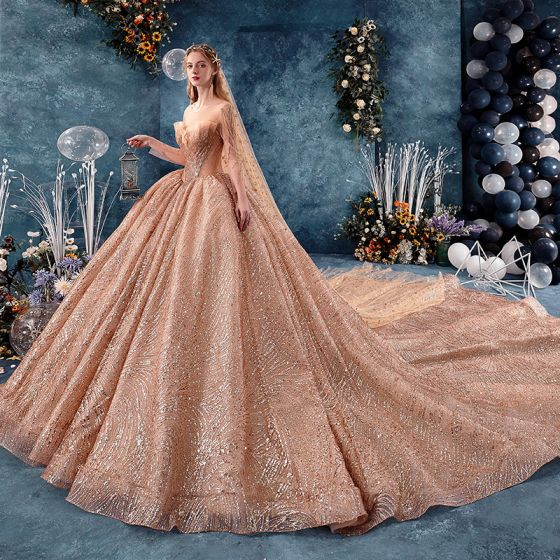 Amazing / Unique Gold See-through Wedding Dresses 2019 Ball Gown Scoop Neck Long Sleeve Backless Heart-shaped Beading Glitter Sequins Cathedral Train Ruffle