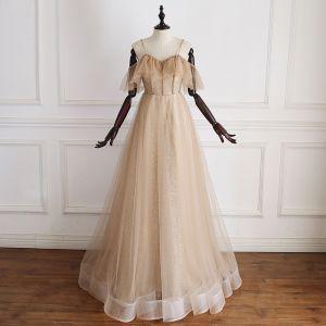 Luxury / Gorgeous Gold Prom Dresses 2019 A-Line / Princess Spaghetti Straps Short Sleeve Beading Glitter Tulle Floor-Length / Long Ruffle Backless Formal Dresses