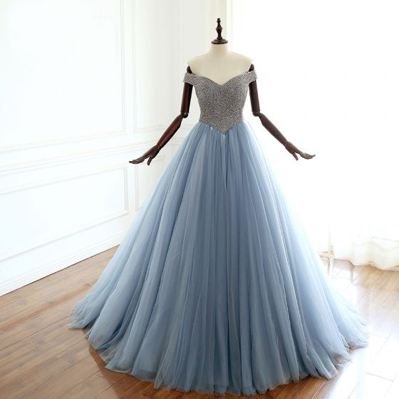Luxury / Gorgeous Ocean Blue Prom Dresses 2018 A-Line / Princess Off-The-Shoulder Short Sleeve Glitter Beading Court Train Ruffle Backless Formal Dresses