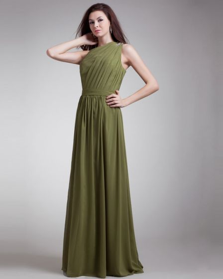 Slopping Pleated Floor Length Chiffon Evening Party Dress