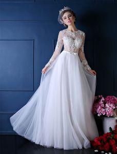 Vakker Brudekjole 2016 A-linje Applique Blonder Hvit Organza Brudekjole