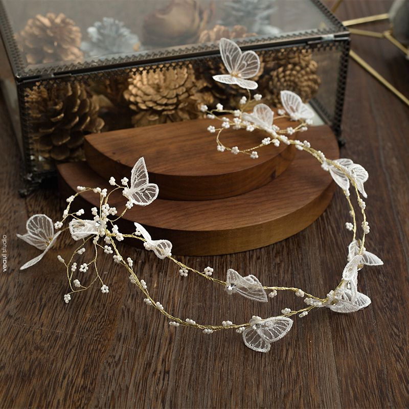 Flower Fairy Gold Bridal Hair Accessories 2020 Alloy Beading Butterfly Headpieces Wedding Accessories