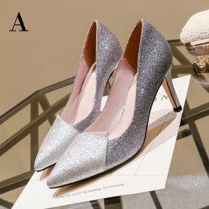 Hermoso Plata Zapatos De Mujer 2017 Cuero Lentejuelas Glitter Fiesta