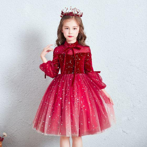 Chic / Belle Rouge Transparentes Anniversaire Robe Ceremonie Fille 2020 Robe Boule Col Haut Gonflée 3/4 Manches Étoile Paillettes Courte Volants