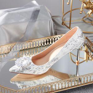 Charmant Ivory / Creme Brautschuhe 2020 Spitze Strass Pailletten 7 cm Stilettos Spitzschuh Hochzeit Pumps