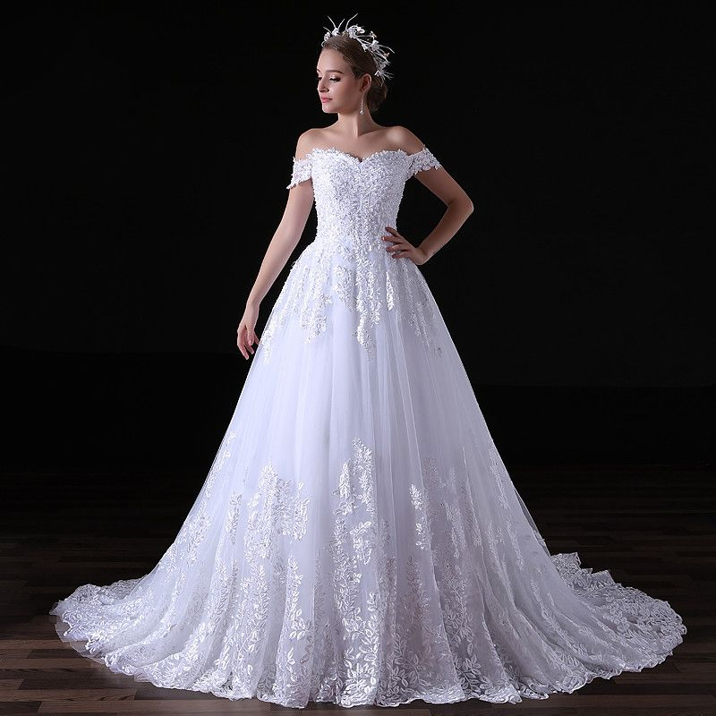 Elegant White Wedding Dresses 2017 A-Line / Princess Off-The-Shoulder Sweetheart Backless Appliques Lace Sequins Ruffle Tulle Chapel Train