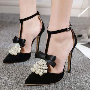 Mode Noire Soirée Chaussures Femmes 2020 Perle Noeud 12 cm Talons Aiguilles À Bout Pointu Talons Hauts