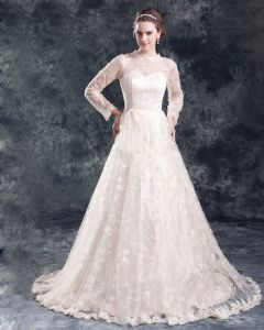 Lace Flower Floor Length Jewel Ball Gown Women A Line Wedding Dress