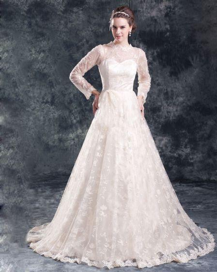 Lace Flower Floor Length Jewel Ball Gown Women A Line Wedding Dress