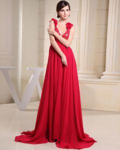 Stylish Solid Satin Chiffon Silk Spaghetti Straps Sequins Sleeveless Backless Pleated Court Train Prom Dress