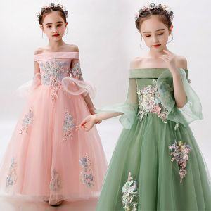 Chic / Beautiful Birthday Flower Girl Dresses 2020 Ball Gown Off-The-Shoulder 3/4 Sleeve Bell sleeves Backless Appliques Lace Beading Pearl Floor-Length / Long Ruffle