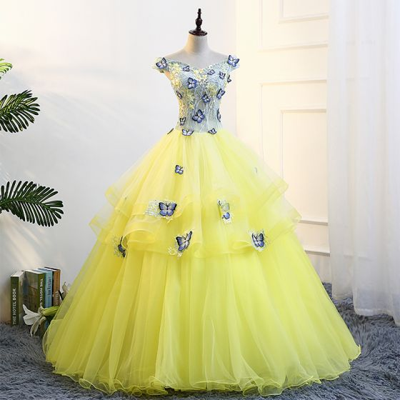 40b58ffca9f Flower Fairy Yellow Prom Dresses 2018 Ball Gown V-Neck Tulle Embroidered  Appliques Backless Prom Formal Dresses