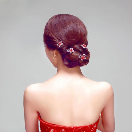 U-shaped Petal Red Bridal Headpieces / Head Flower / Wedding Hair Accessories / Wedding Jewelr