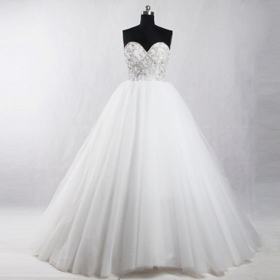 Amazing / Unique White Court Train Wedding 2018 Ball Gown Tulle Backless Beading Corset Rhinestone Wedding Dresses