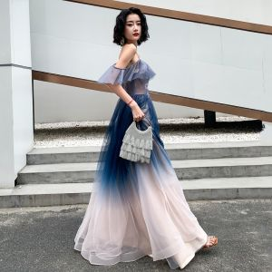 Chic / Beautiful Gradient-Color Evening Dresses  2019 A-Line / Princess Spaghetti Straps Sleeveless Backless Floor-Length / Long Formal Dresses