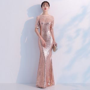 Sparkly Champagne Evening Dresses  2018 Trumpet / Mermaid Sequins Rhinestone Scoop Neck 1/2 Sleeves Floor-Length / Long Formal Dresses
