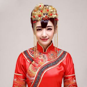 Chinese Style Bridal Headpiece Golden Wedding Hair Accessories Wedding Jewelry
