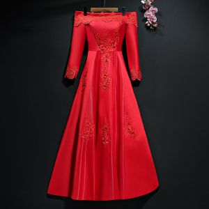 Chic / Beautiful Red Evening Dresses  2017 A-Line / Princess Lace Backless Off-The-Shoulder Long Sleeve Ankle Length Formal Dresses