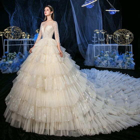 Fabulous Champagne Glitter Star Wedding Dresses 2020 A-Line / Princess See-through Scoop Neck 3/4 Sleeve Backless Beading Royal Train Cascading Ruffles