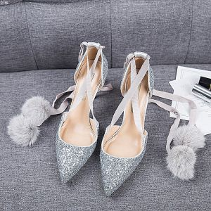 Chic / Beautiful Silver Dating Womens Shoes 2019 Leather Sequins Ankle Strap 8 cm Stiletto Heels Pointed Toe High Heels
