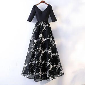 Schöne Schwarz Abendkleider 2017 A Linie Mit Spitze Applikationen Schleife V-Ausschnitt Rückenfreies 1/2 Ärmel Knöchellänge Festliche Kleider