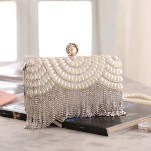 Mode Silber Lackleder Strass Quaste Clutch Tasche 2020 Metall Perle Abend Brautaccessoires